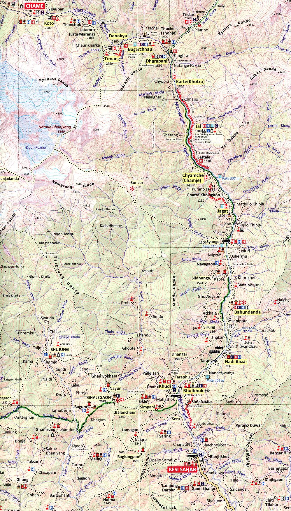 Trekking Map of Muktinath and Annapurna Circuit