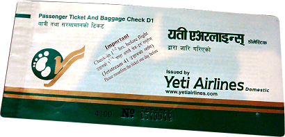 Domestic Airplain Ticket Yeti Airlines
